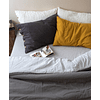Reversible Quilt Cover with Stone Gray and Gray Striped closure