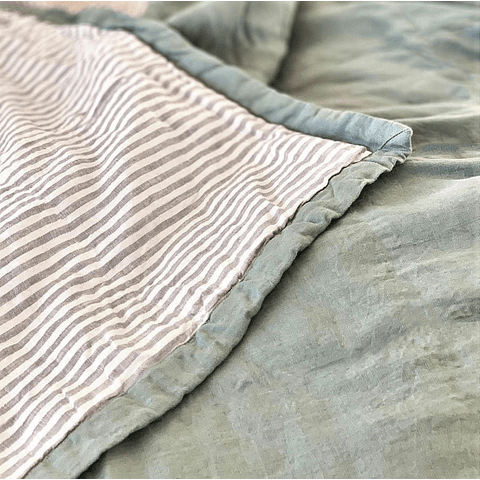 Agave Green and Sand Striped Bedspread