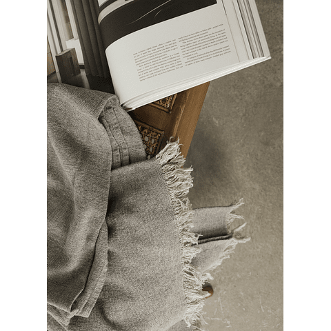 Gray Linen Throw with Fringes