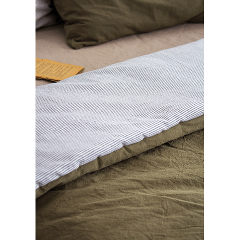 Reversible Quilt Cover with Olive Tussor and Ultrafine Stripe