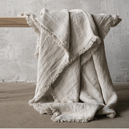 Ecru Linen Throw with Fringes