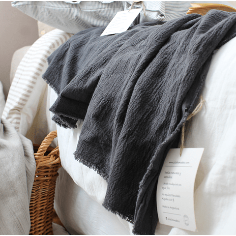 Throw / Bed Foot Woven in Anthracite Gray Loom