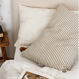 Almada Striped Walnut and Off White Cushion