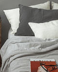 Reversible Pearl Gray and Gray Striped Bedspread
