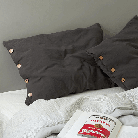 Grommet and Button Pillowcase Set Graphite Gray