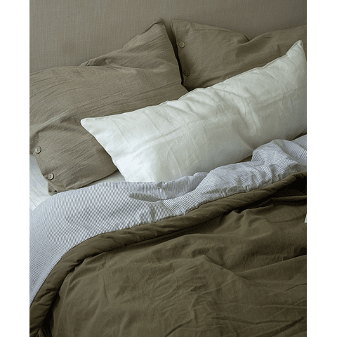 Reversible Olive and Ultra Fine Stripe Bedspread