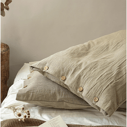 Pillow Case with Buttonhole and Walnut Button