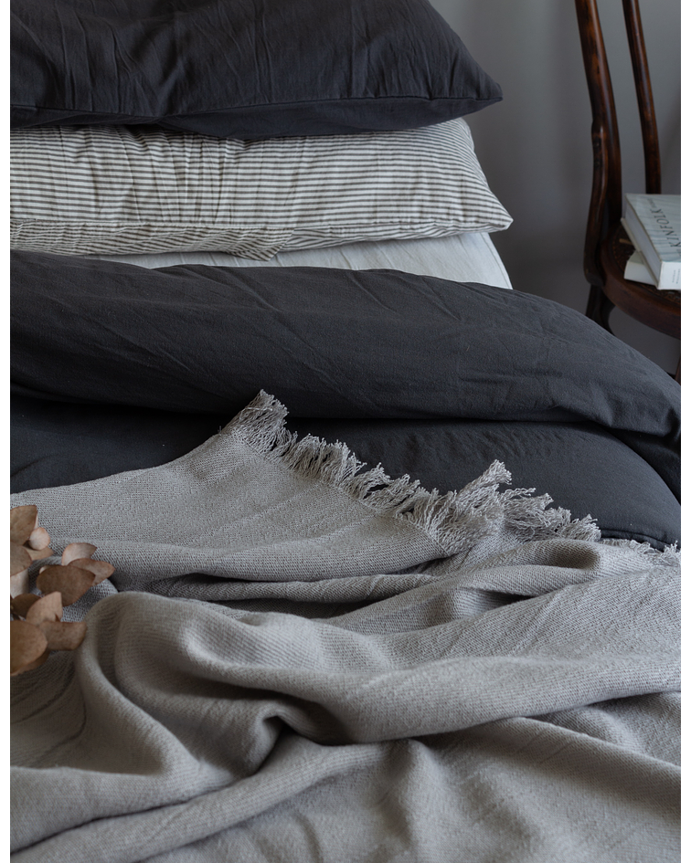 Throw / Footboard for Bed Woven in Gray Fringed Loom