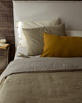 Bed Back with Detachable Linen Cover Off White