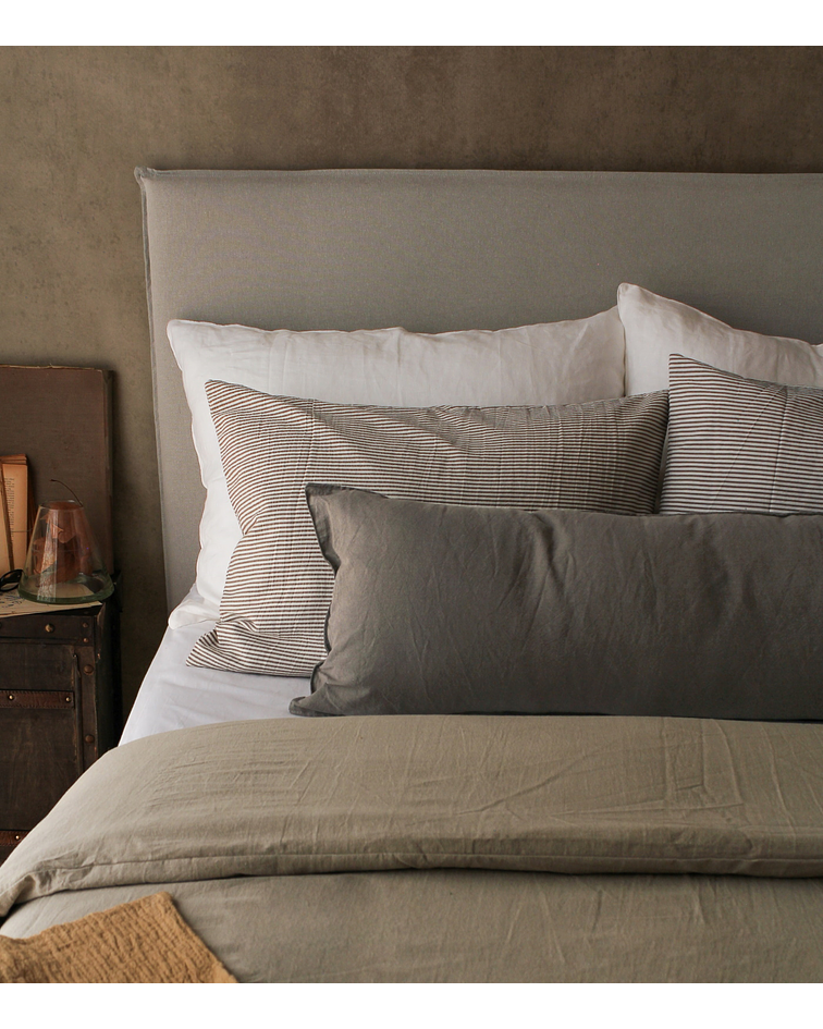 Bed Back with Detachable Cover Tussor Pearl Gray
