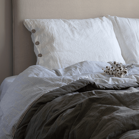Reversible Graphite and Gray Striped Bedspread