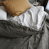 Gray and Gray Striped Bedspread