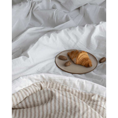 White Bedspread and Sand Stripes