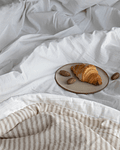 Off White and Sand Stripes Bedspread