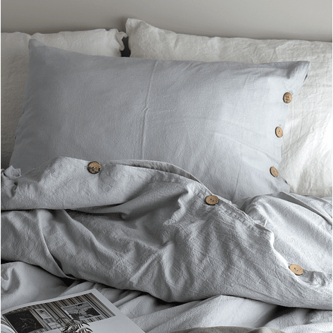 Pillow Case with Buttonhole and Pearl Gray Button