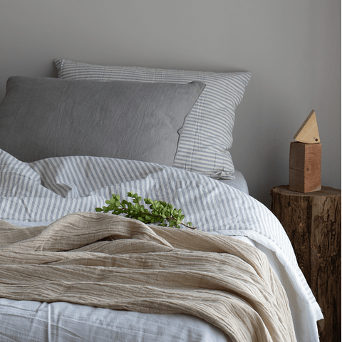 White and Gray Striped Bedspread