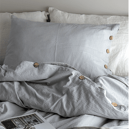 Queen / King Pearl Gray Tussor Quilt Cover