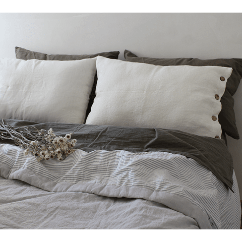 Pearl Gray and Gray Striped Bedspread