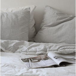 Gray and Off white Striped Pillowcase Set