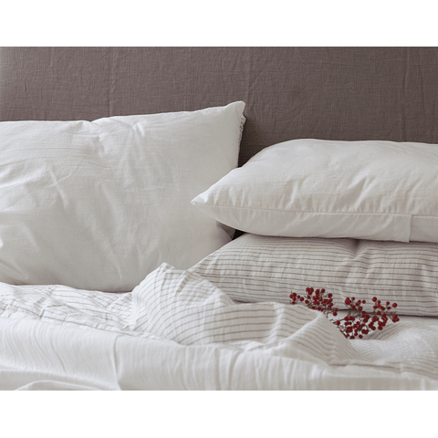 Gray and Off White Striped Pillow Case Set