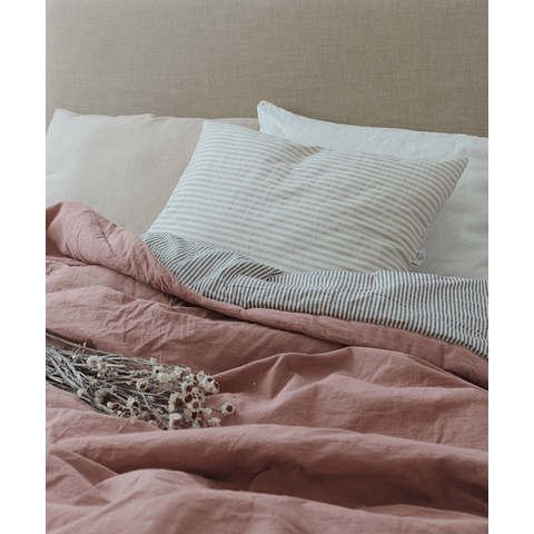 Mauve and Striped Mink Bedspread