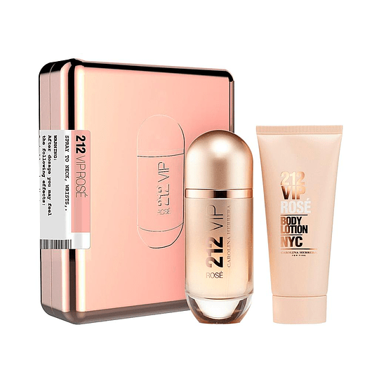 212 VIP ROSE ESTUCHE EDP 80ML + LOCION 100ML CAJA ROSADA