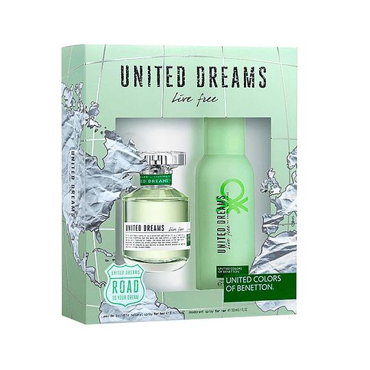 UNITED DREAMS LIVE FREE MUJER ESTUCHE EDT 80ML + DESODORANTE 150ML