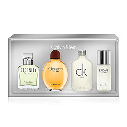 CK HOMBRE MINI ESTUCHE EDT 15ML X 4 ETERNITY + OBSESSED + CK ONE + ESCAPE