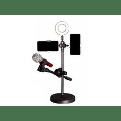 Kit Youtuber Atril Luz Led + Porta Microfono Y Porta Celular