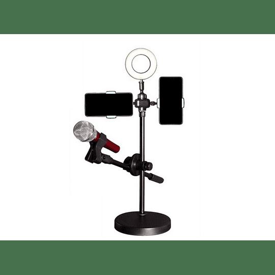Kit Youtuber Atril Luz Led + Porta Microfono Y Porta Celular  - Image 1