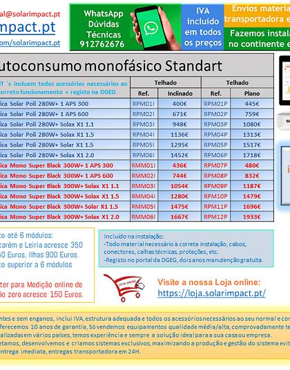 KIT autoconsumo Monofásico Standard até 6 módulos
