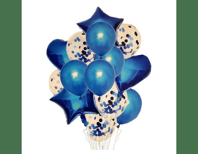 Arreglo de 8 globos de Helio - Azul