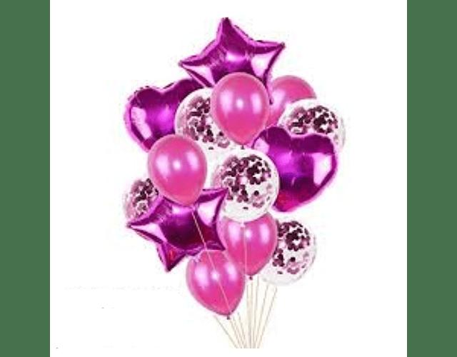 Arreglo de 8 globos de Helio - Rosa