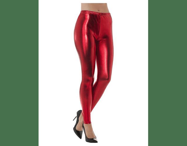 Leggings Metálicos S-M Rojo