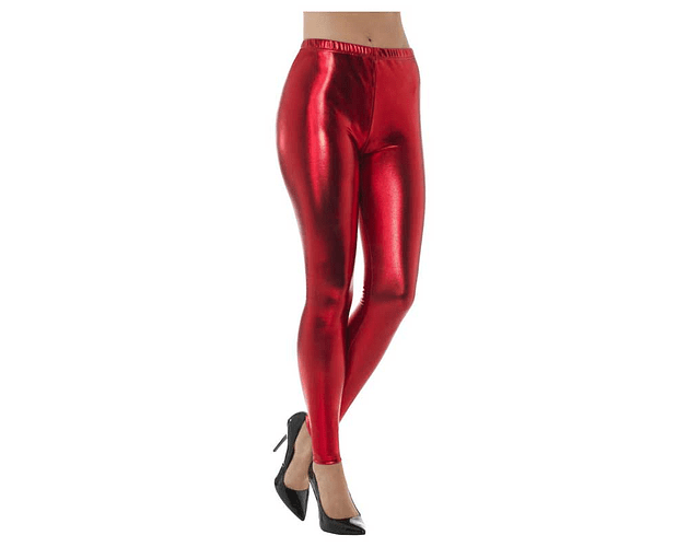 Leggings Metálicos L-XL Rojo