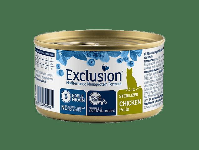 Lata Exclusion Noble Grain Frango Gato Esterilizado 85g