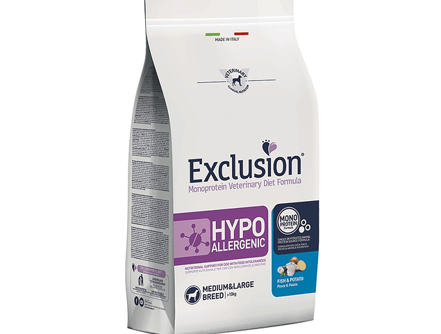 Exclusion Hypoallergenic Peixe e Batata Médio/Grande 12kg