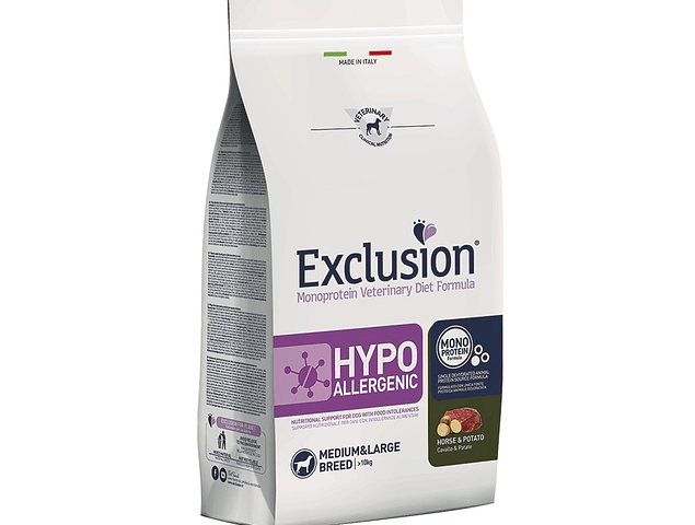 Exclusion Hypoallergenic Cavalo e Batata Médio/Grande 12Kg