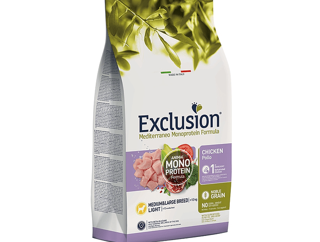 Exclusion Noble Grain Light Frango Médio/Grande 12Kg