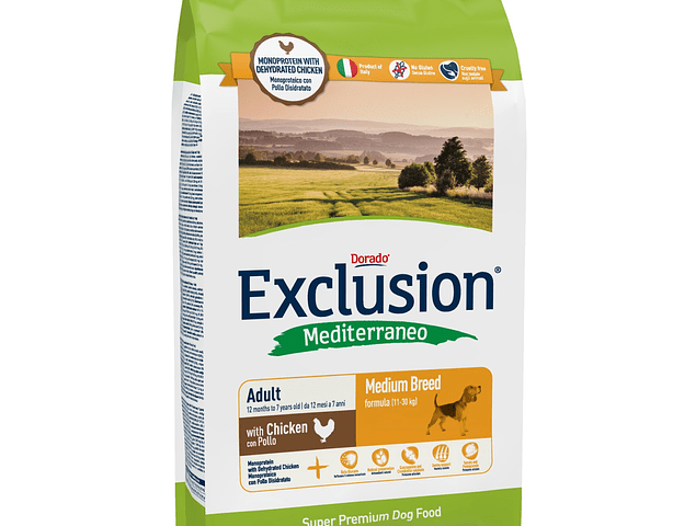 RAÇÃO EXCLUSION MEDITERRANEO ADULT MEDIUM CHICKEN 12.5KG