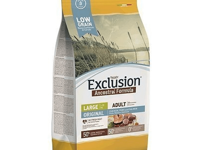 RAÇÃO EXCLUSION LOW GRAIN ADULT CHICKEN, PORK & SALMON LARGE BREED 12KG