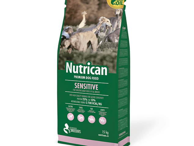NUTRICAN SENSITIVE 15KG + OFERTA SNACK SAM´S FIELD SKIN COAT 200GR + OFERTA SNACK CANVIT SKIN COAT GRAIN FREE 200GR