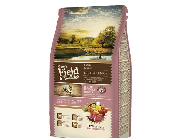 RAÇÃO SAM'S FIELD CÃO ADULTO LIGHT & SÉNIOR BORREGO & ARROZ 2.5KG