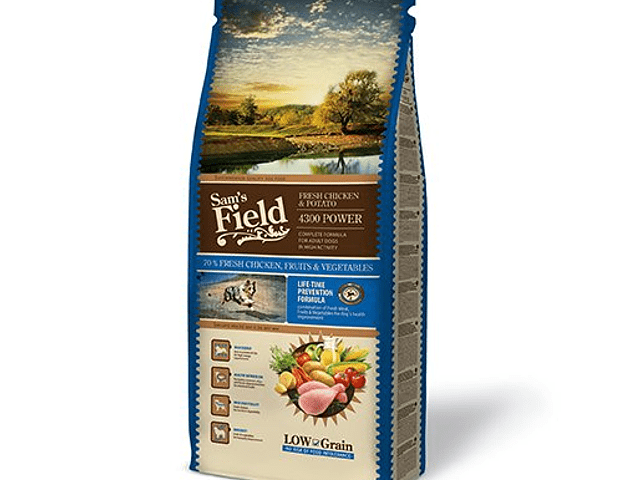 SAM'S FIELD CÃO ADULTO FRANGO & BATATA 4300 POWER 13KG