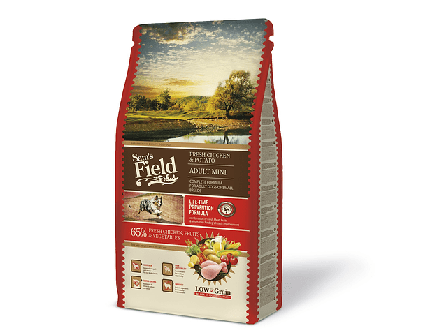 RAÇÃO SAM'S FIELD ADULTO MINI FRANGO FRESCO & BATATA 8KG
