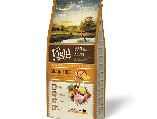 RAÇÃO SAM'S FIELD HIGH MEAT & GRAIN FREE ADULT 13KG