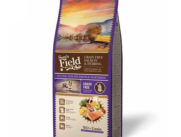 Sam's Field Grain Free Salmão e Arenque 13Kg