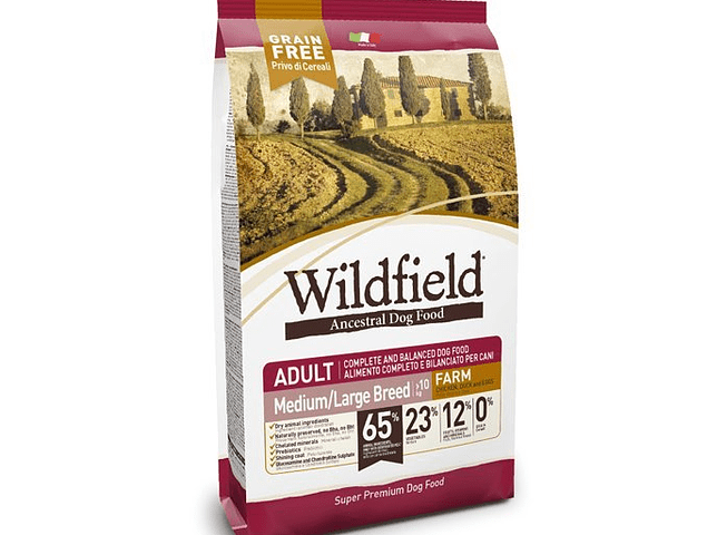 Ração Wildfield Adult Farm Chicken, Duck and Eggs Medium/Large Breed 12kg
