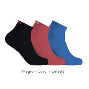 Tripack Calcetin Running Mitre Mujer Celeste/Coral/ Negro