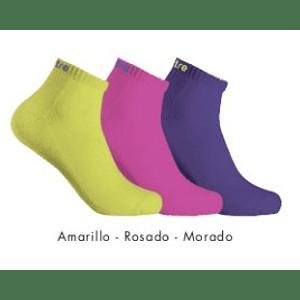 Tripack Calcetin Running Mitre Mujer Amarillo Fluor/Fucsia